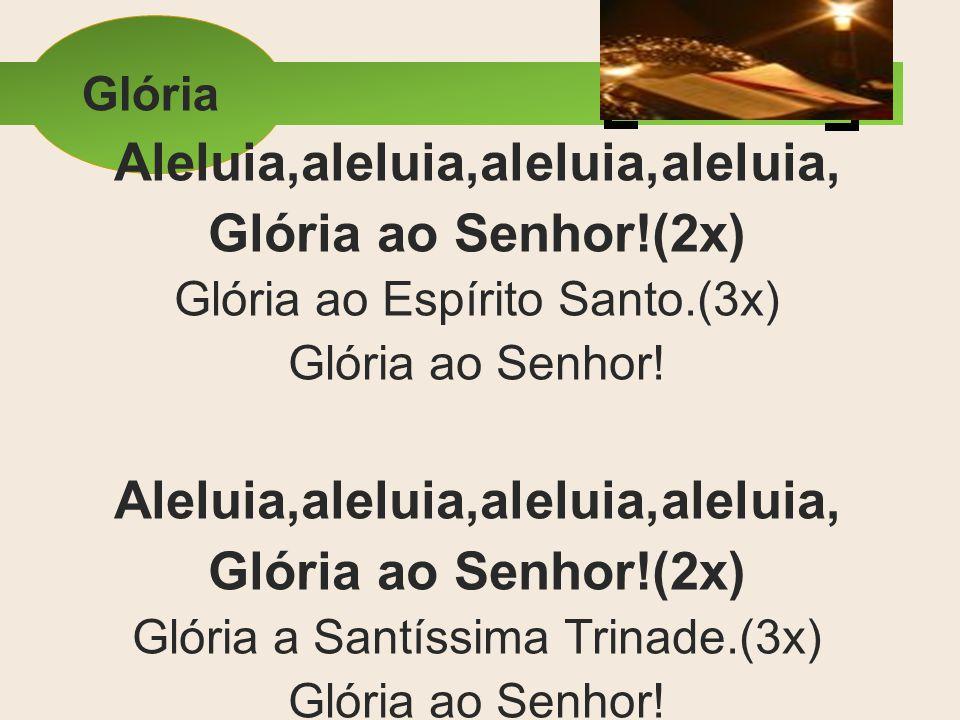Glória Aleluia,aleluia,aleluia,aleluia, Glória ao Senhor!(2x) Glória ao Espírito Santo.(3x) Glória ao Senhor! Aleluia,aleluia,aleluia,aleluia, Glória