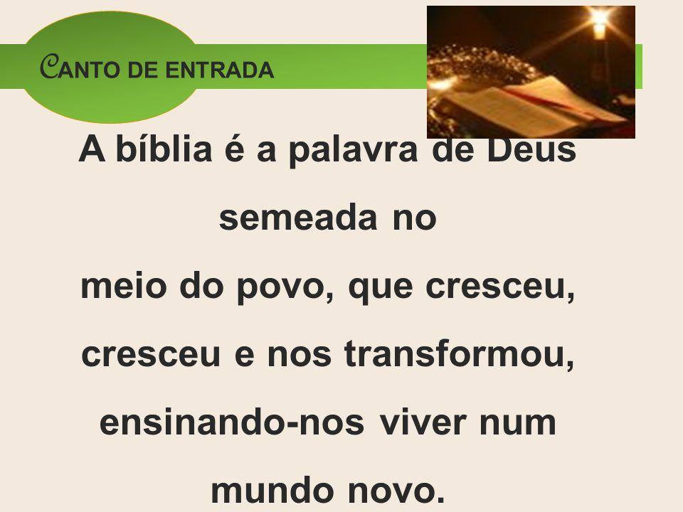 C ANTO DE ENTRADA A bíblia é a palavra de Deus semeada no meio do povo, que cresceu, cresceu e nos transformou, ensinando-nos viver num mundo novo.