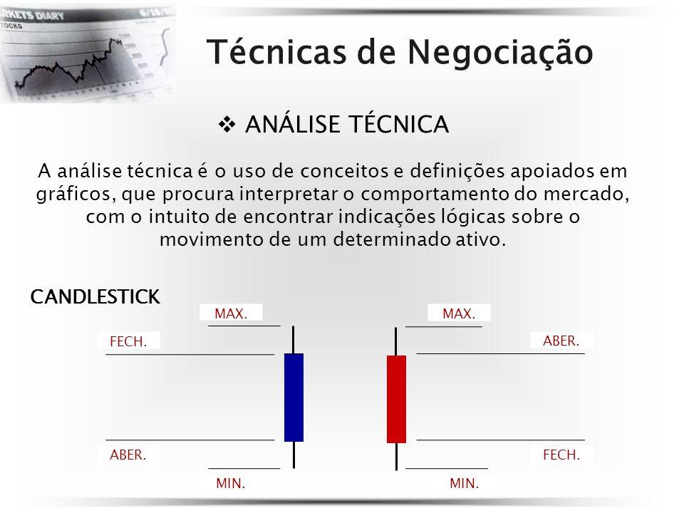 Técnicas de Negociação ANÁLISE TÉCNICA A análise técnica é o uso de conceitos e definições apoiados em gráficos, que procura interpretar o comportamento do mercado, com o intuito de encontrar indicações lógicas sobre o movimento de um determinado ativo.