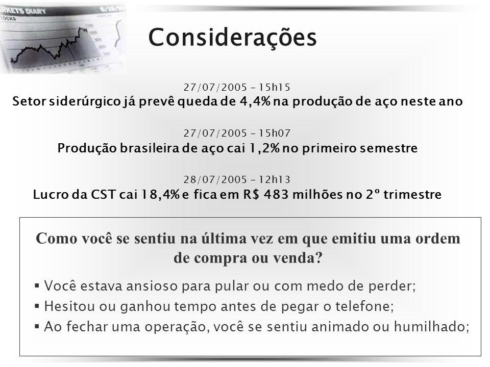 Considerações 27/07/2005 - 15h15 Setor siderúrgico já prevê queda de 4,4% na produção de aço neste ano 27/07/2005 - 15h07 Produção brasileira de aço c