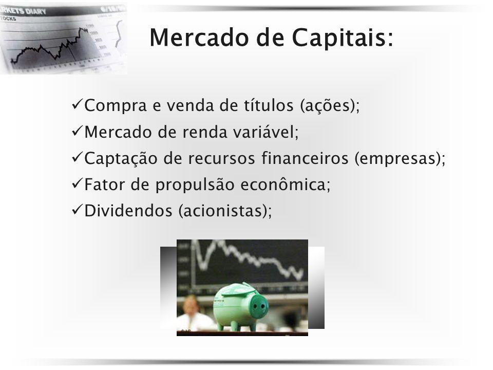 Mercado de Capitais: Compra e venda de títulos (ações); Mercado de renda variável; Captação de recursos financeiros (empresas); Fator de propulsão econômica; Dividendos (acionistas);