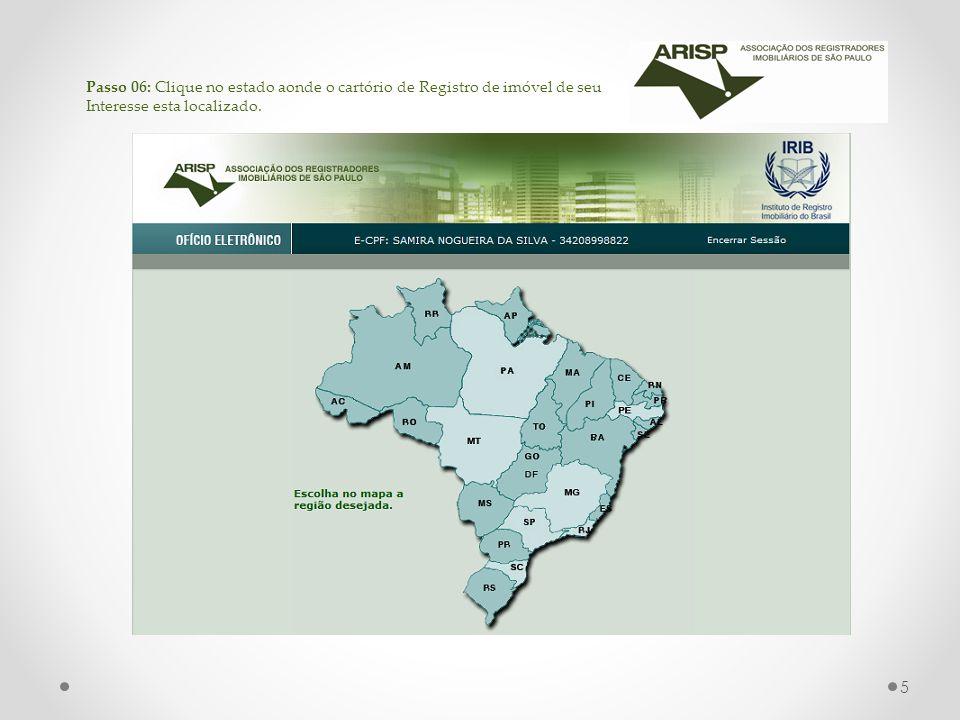 Passo 06: Clique no estado aonde o cartório de Registro de imóvel de seu Interesse esta localizado.