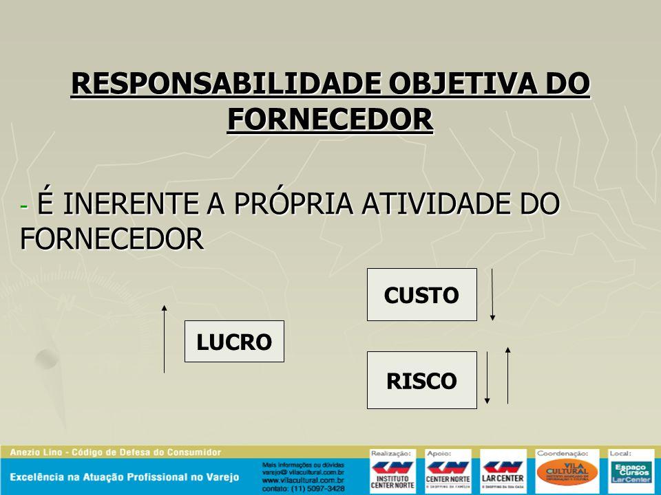 RESPONSABILIDADE OBJETIVA DO FORNECEDOR - É INERENTE A PRÓPRIA ATIVIDADE DO FORNECEDOR CUSTO RISCO LUCRO