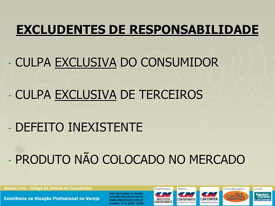 EXCLUDENTES DE RESPONSABILIDADE - CULPA EXCLUSIVA DO CONSUMIDOR - CULPA EXCLUSIVA DE TERCEIROS - DEFEITO INEXISTENTE - PRODUTO NÃO COLOCADO NO MERCADO
