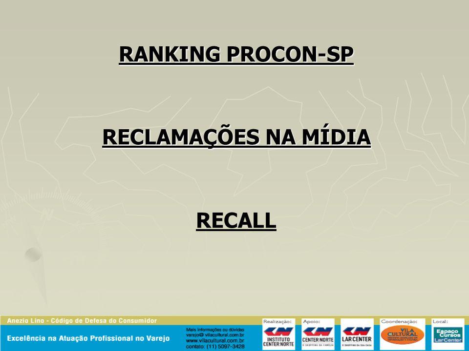 RANKING PROCON-SP RECLAMAÇÕES NA MÍDIA RECALL