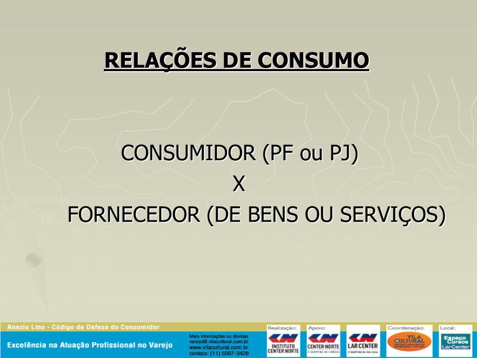 RELAÇÕES DE CONSUMO CONSUMIDOR (PF ou PJ) CONSUMIDOR (PF ou PJ) X FORNECEDOR (DE BENS OU SERVIÇOS) FORNECEDOR (DE BENS OU SERVIÇOS)