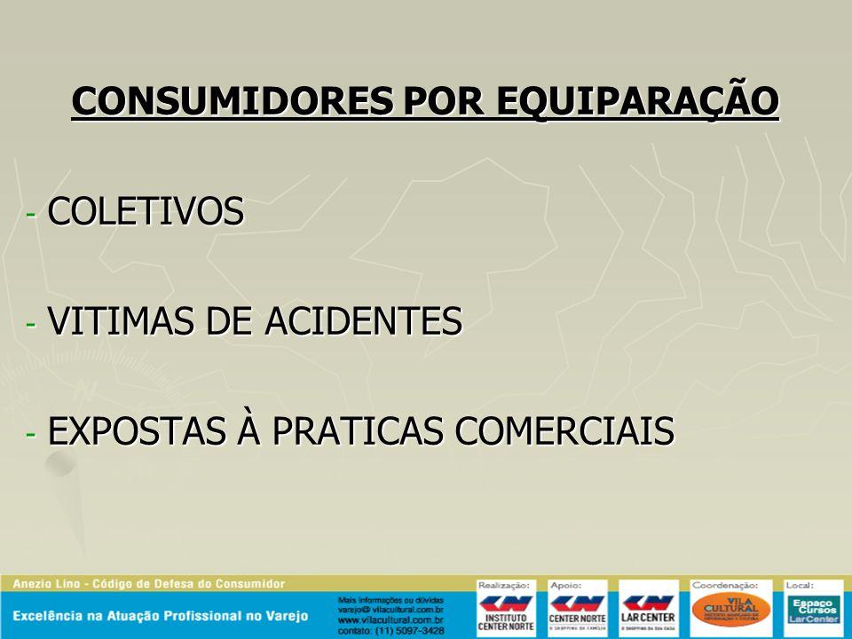 CONSUMIDORES POR EQUIPARAÇÃO - COLETIVOS - VITIMAS DE ACIDENTES - EXPOSTAS À PRATICAS COMERCIAIS