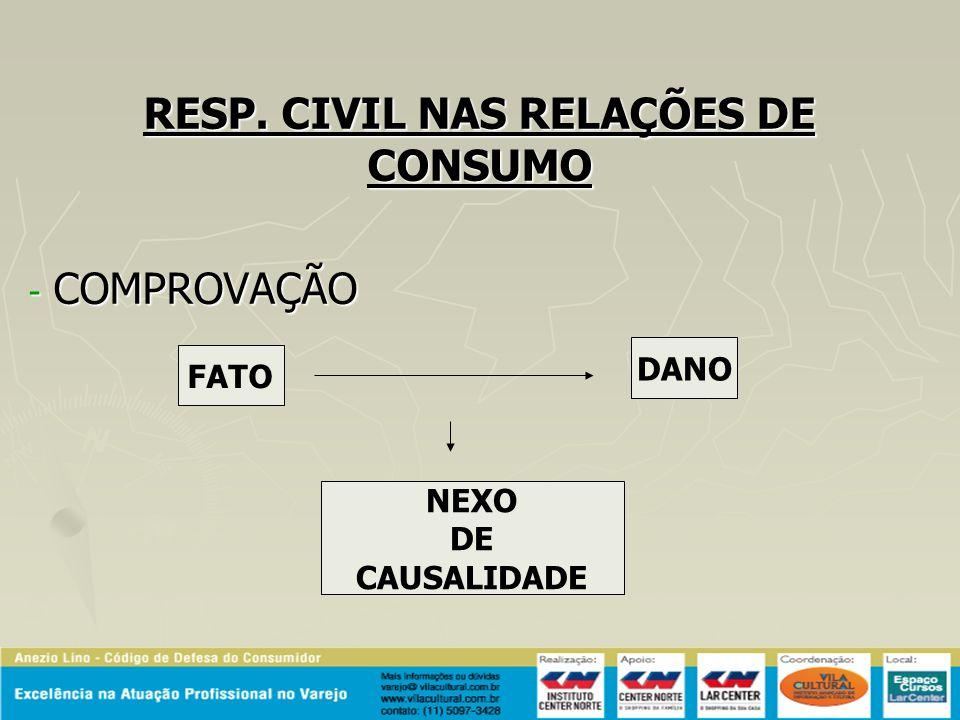 RESP. CIVIL NAS RELAÇÕES DE CONSUMO - COMPROVAÇÃO FATO DANO NEXO DE CAUSALIDADE