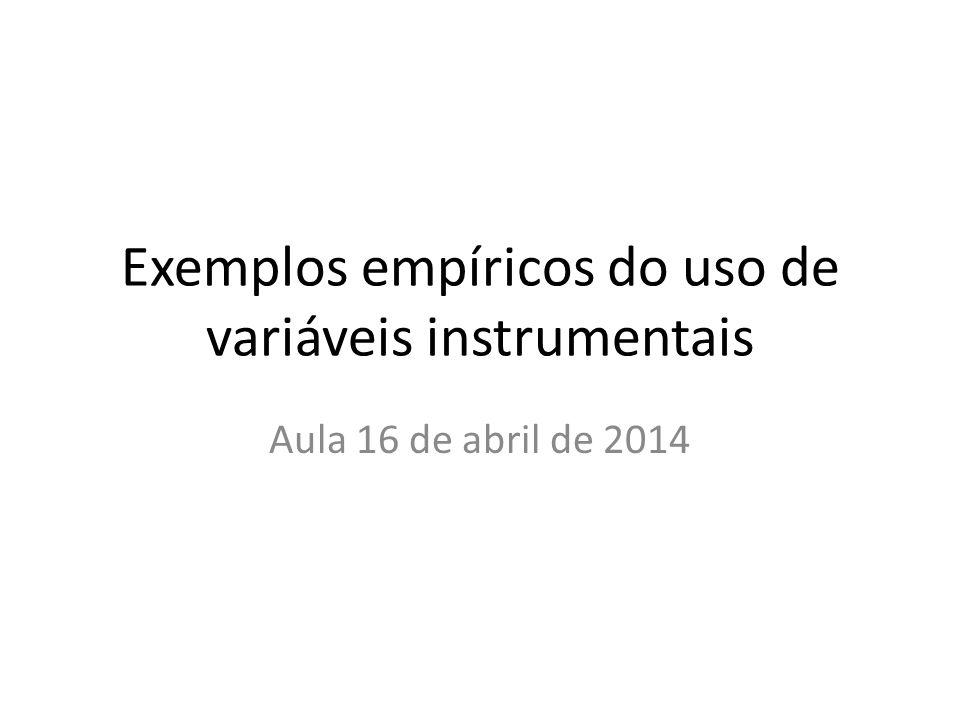 Exemplos empíricos do uso de variáveis instrumentais Aula 16 de abril de 2014