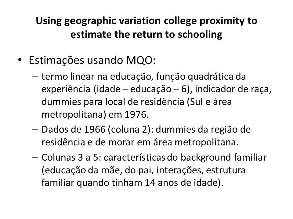 Estimações usando MQO: – termo linear na educação, função quadrática da experiência (idade – educação – 6), indicador de raça, dummies para local de residência (Sul e área metropolitana) em 1976.