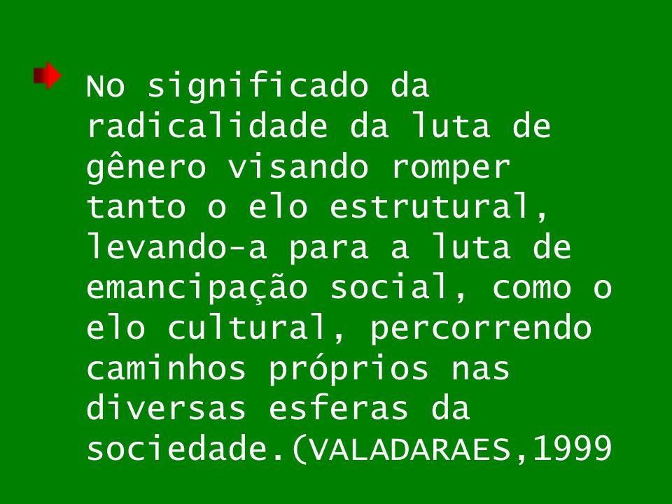 No significado da radicalidade da luta de gênero visando romper tanto o elo estrutural, levando-a para a luta de emancipação social, como o elo cultural, percorrendo caminhos próprios nas diversas esferas da sociedade.(VALADARAES,1999