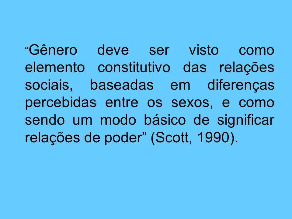 Gênero deve ser visto como elemento constitutivo das relações sociais, baseadas em diferenças percebidas entre os sexos, e como sendo um modo básico de significar relações de poder (Scott, 1990).
