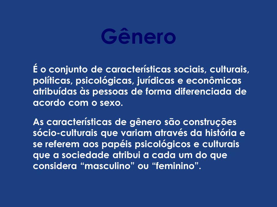 É o conjunto de características sociais, culturais, políticas, psicológicas, jurídicas e econômicas atribuídas às pessoas de forma diferenciada de acordo com o sexo.
