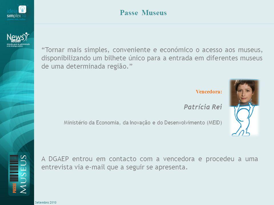 Setembro 2010 Entrevista via email com a vencedora DGAEP: Em primeiro lugar gostaríamos que se apresentasse (nome, idade, estado civil, se tem filhos, Serviço onde trabalha, hobbies, etc.).