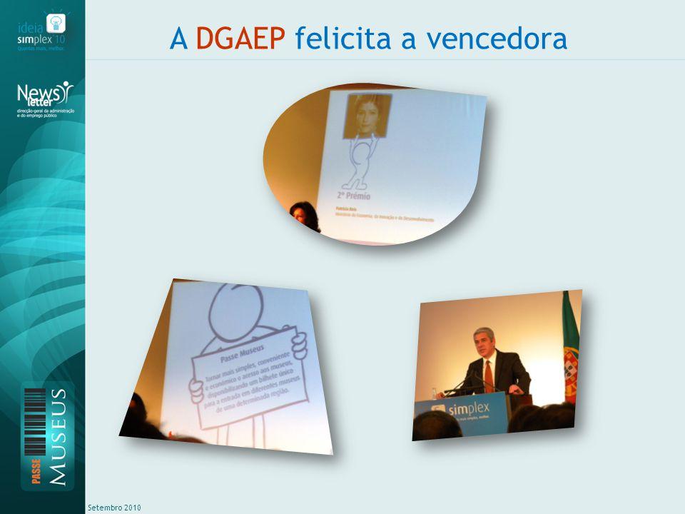 Setembro 2010 A DGAEP felicita a vencedora