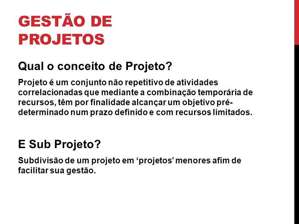 GESTÃO DE PROJETOS Qual o conceito de Projeto? Projeto é um conjunto não repetitivo de atividades correlacionadas que mediante a combinação temporária