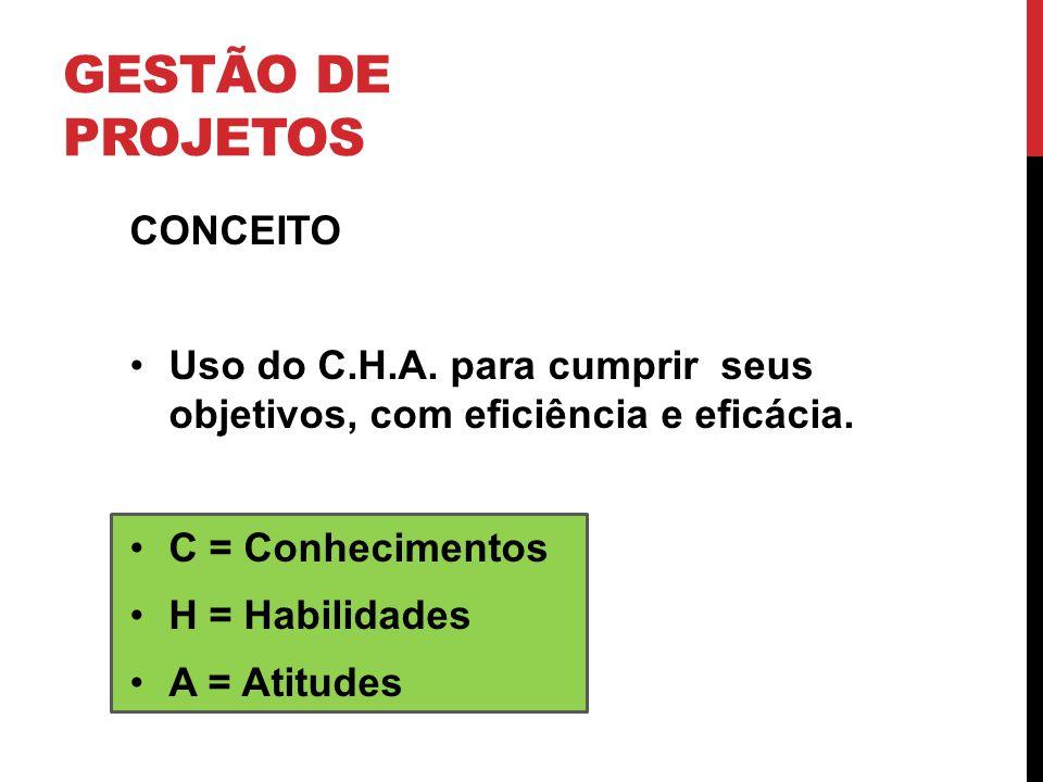 GESTÃO DE PROJETOS CONCEITO Uso do C.H.A. para cumprir seus objetivos, com eficiência e eficácia. C = Conhecimentos H = Habilidades A = Atitudes