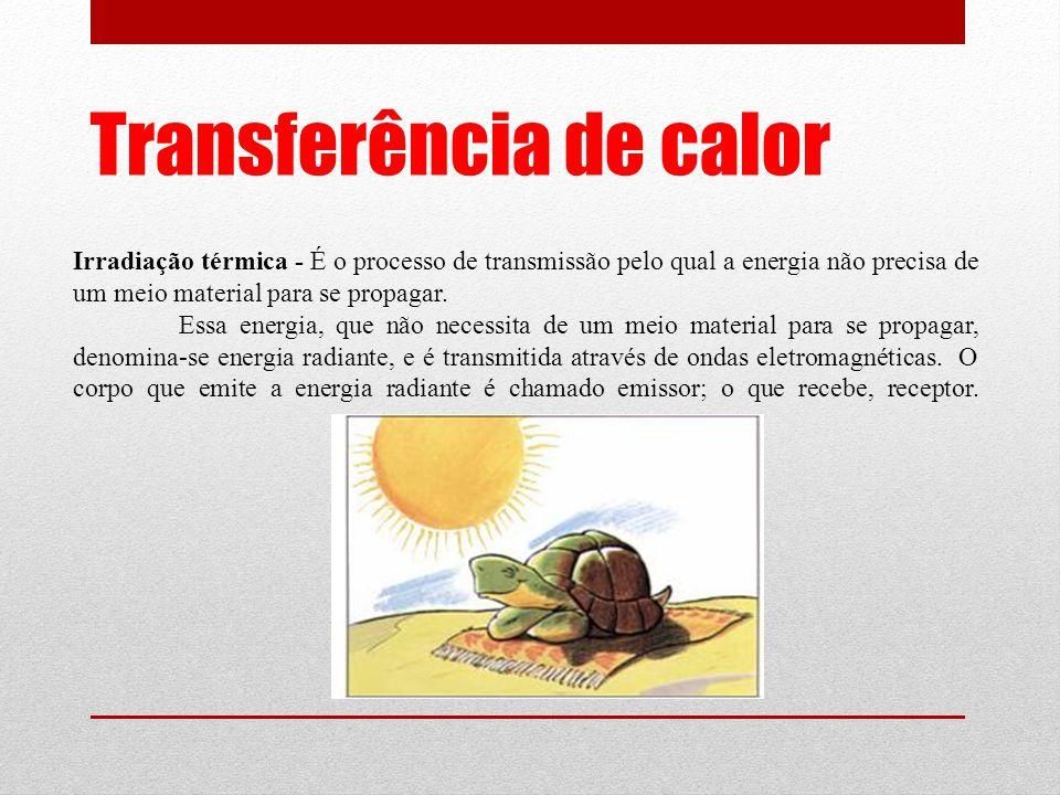 Transferência de calor Irradiação térmica - É o processo de transmissão pelo qual a energia não precisa de um meio material para se propagar.