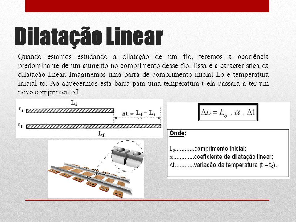 Dilatação Linear Quando estamos estudando a dilatação de um fio, teremos a ocorrência predominante de um aumento no comprimento desse fio.