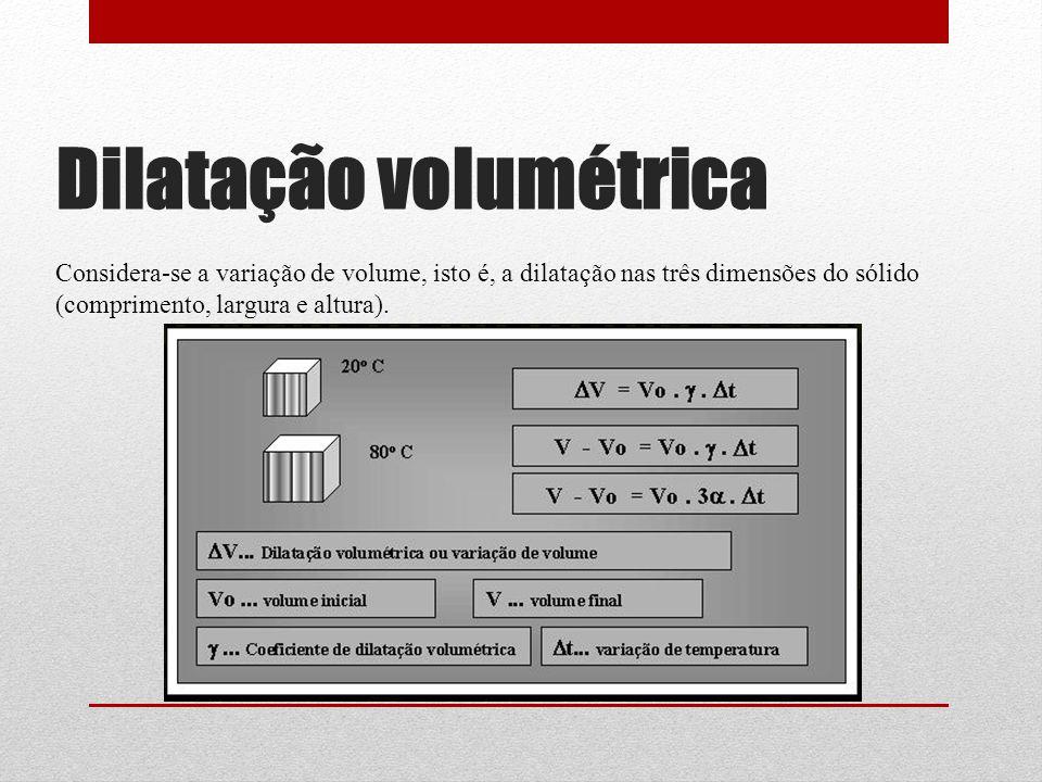 Dilatação volumétrica Considera-se a variação de volume, isto é, a dilatação nas três dimensões do sólido (comprimento, largura e altura).