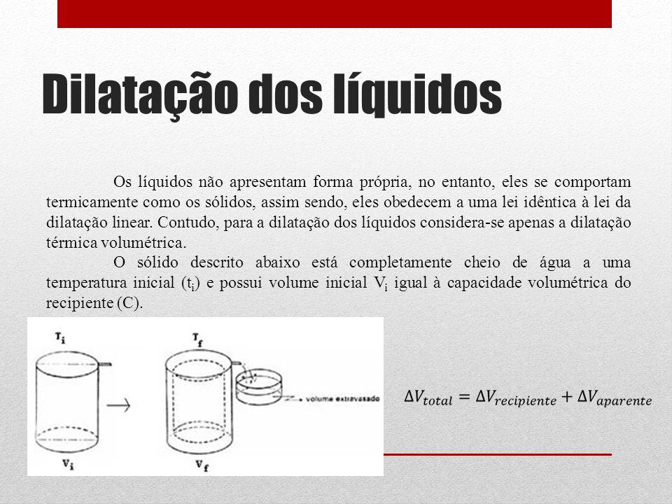 Dilatação dos líquidos Os líquidos não apresentam forma própria, no entanto, eles se comportam termicamente como os sólidos, assim sendo, eles obedecem a uma lei idêntica à lei da dilatação linear.