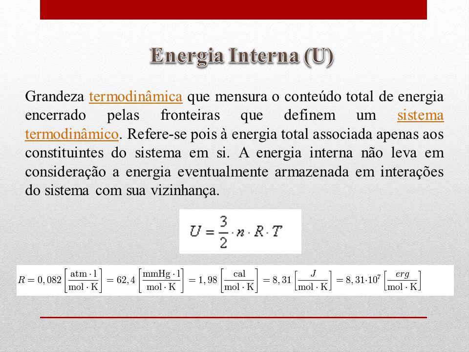Grandeza termodinâmica que mensura o conteúdo total de energia encerrado pelas fronteiras que definem um sistema termodinâmico.