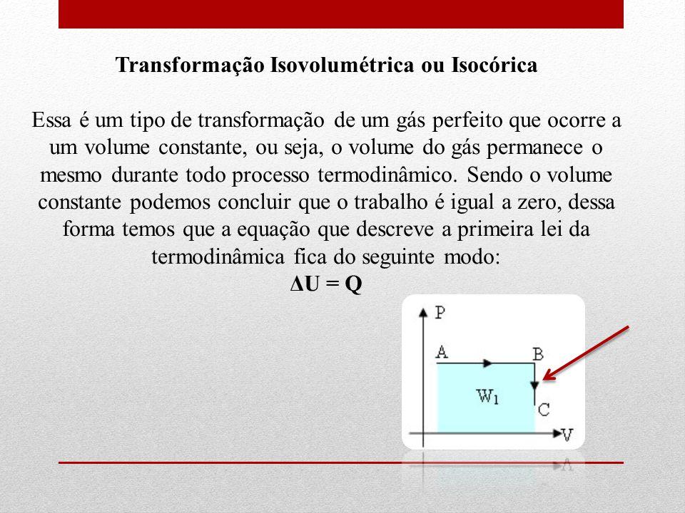 Transformação Isovolumétrica ou Isocórica Essa é um tipo de transformação de um gás perfeito que ocorre a um volume constante, ou seja, o volume do gás permanece o mesmo durante todo processo termodinâmico.