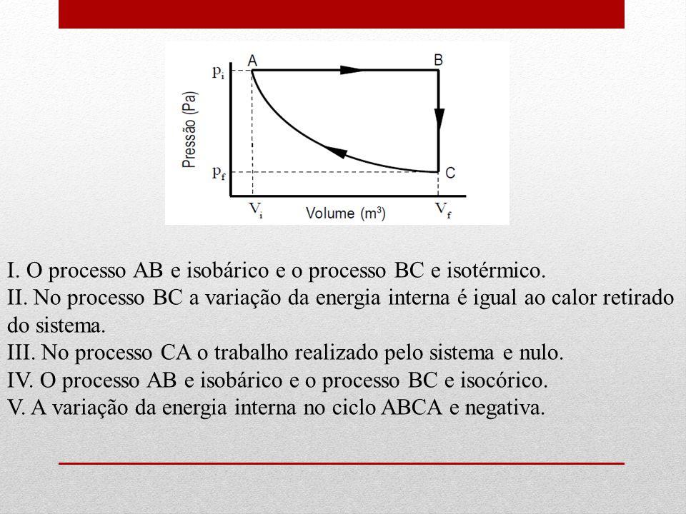 I.O processo AB e isobárico e o processo BC e isotérmico.