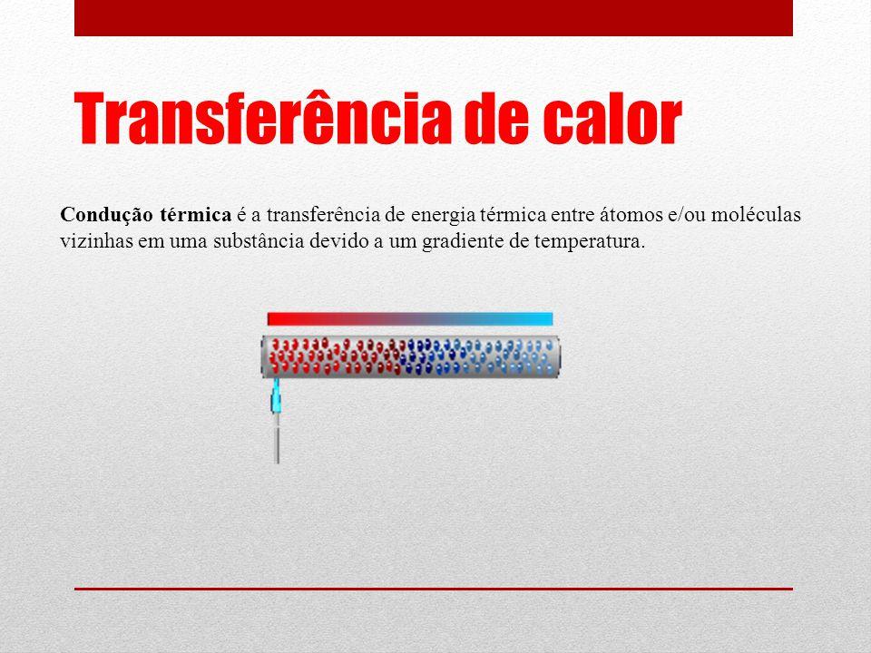 Transferência de calor Condução térmica é a transferência de energia térmica entre átomos e/ou moléculas vizinhas em uma substância devido a um gradiente de temperatura.