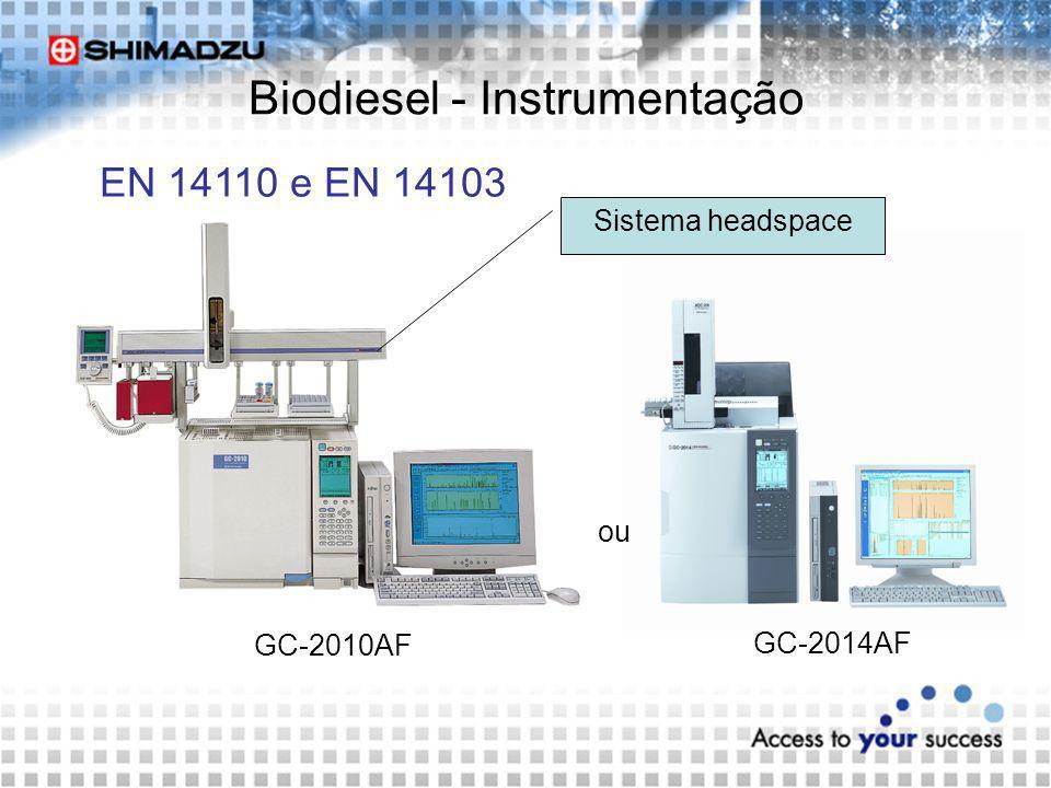 Biodiesel - Instrumentação EN 14110 e EN 14103 GC-2010AF GC-2014AF Sistema headspace ou