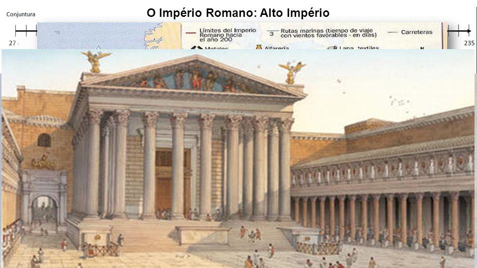 O Império Romano: Alto Império Governo de Otávio Augusto (27 a.C – 14 d.C.) Ampliação da Política do pão e circo Criação da Guarda Pretoriana Desenvol