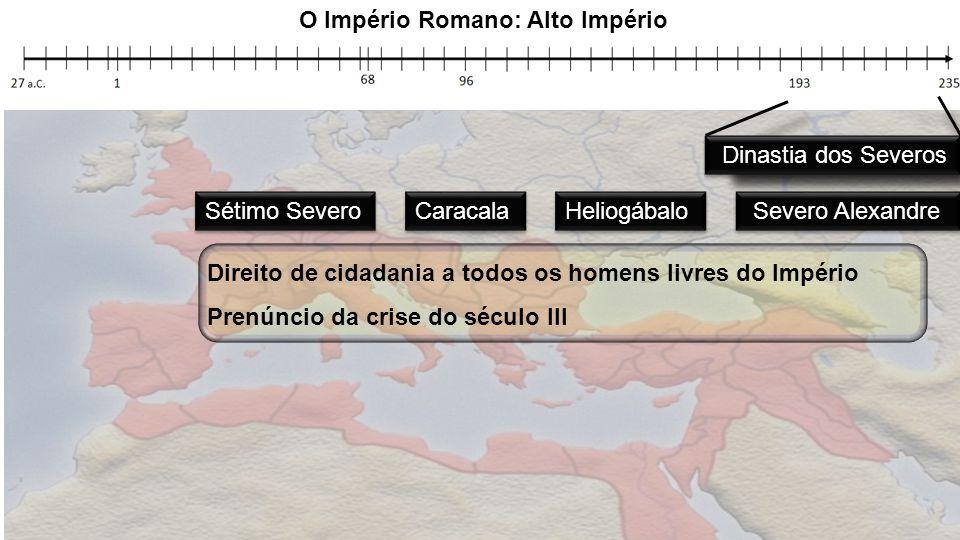 Heliogábalo Caracala Sétimo Severo Severo Alexandre Direito de cidadania a todos os homens livres do Império Prenúncio da crise do século III O Impéri