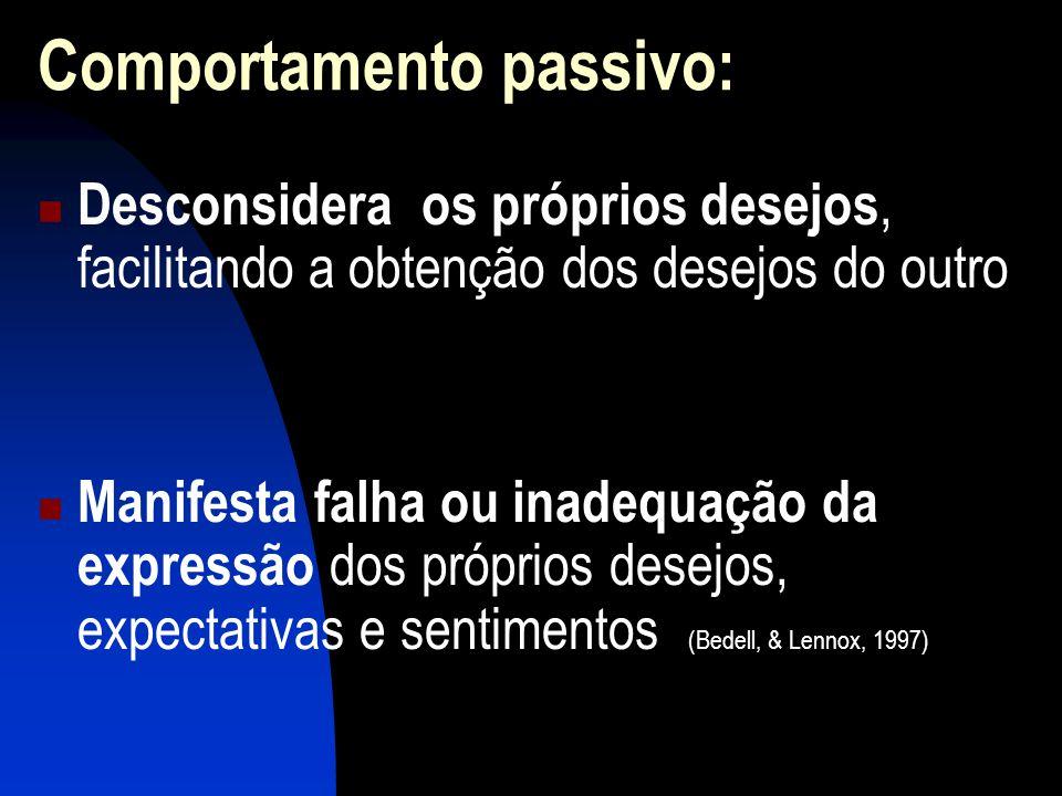 Comportamento passivo: Desconsidera os próprios desejos, facilitando a obtenção dos desejos do outro Manifesta falha ou inadequação da expressão dos próprios desejos, expectativas e sentimentos (Bedell, & Lennox, 1997)