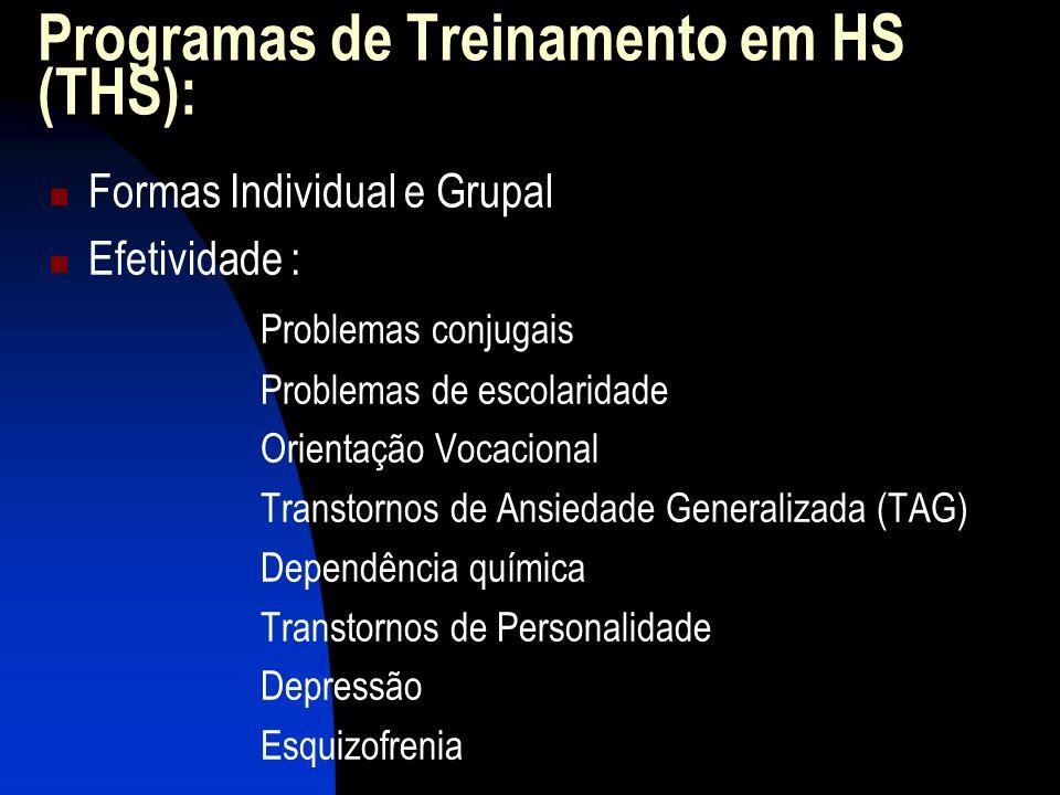 Programas de Treinamento em HS (THS): Formas Individual e Grupal Efetividade : Problemas conjugais Problemas de escolaridade Orientação Vocacional Transtornos de Ansiedade Generalizada (TAG) Dependência química Transtornos de Personalidade Depressão Esquizofrenia