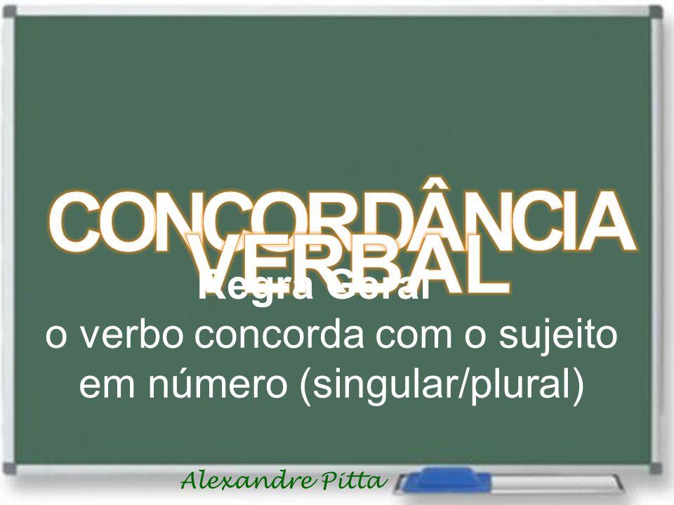 Alexandre Pitta Regra Geral o verbo concorda com o sujeito em número (singular/plural)