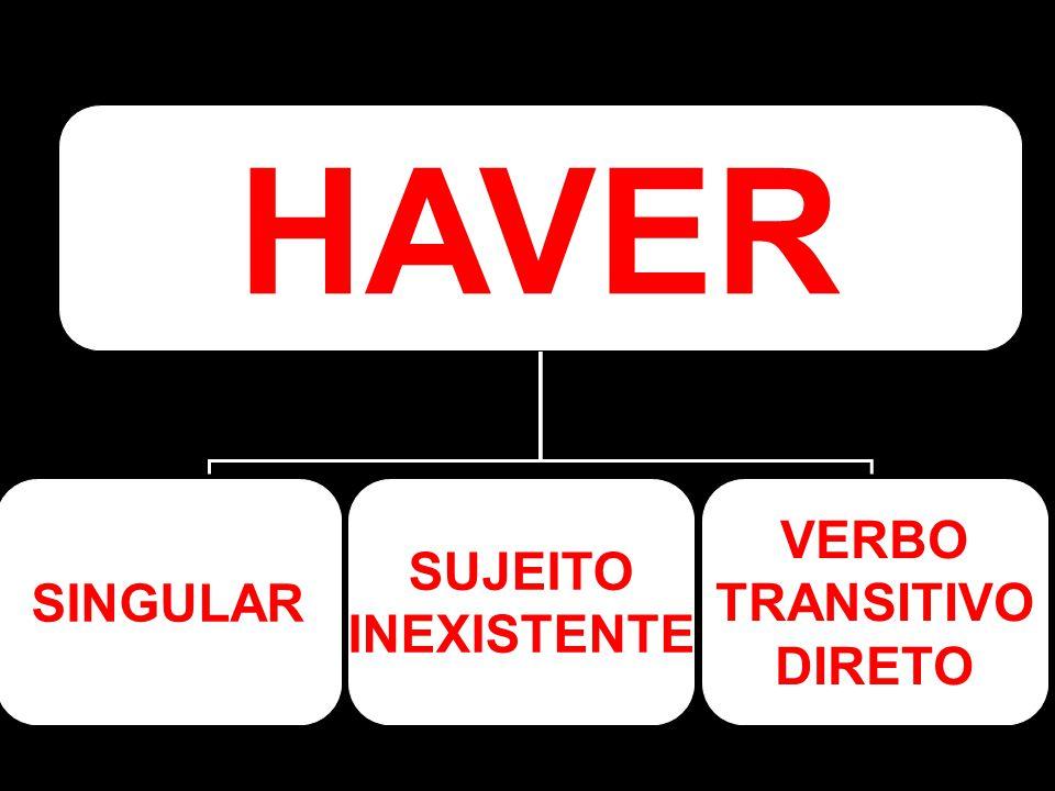 SINGULAR SUJEITO INEXISTENTE VERBO TRANSITIVO DIRETO HAVER