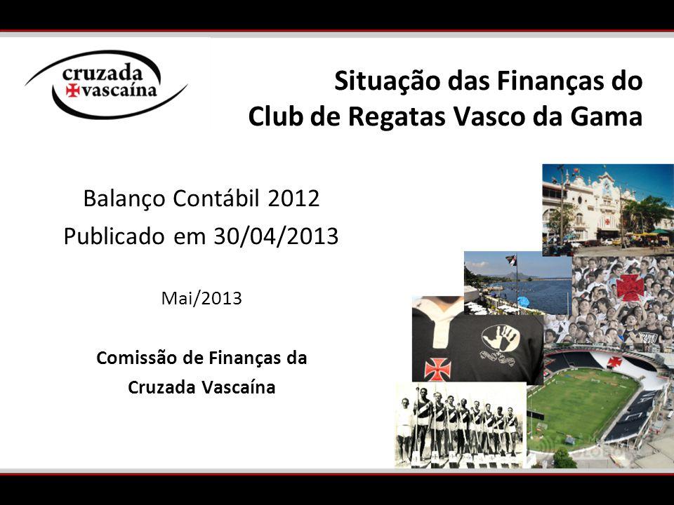 Balanço Contábil 2012 Publicado em 30/04/2013 Mai/2013 Comissão de Finanças da Cruzada Vascaína