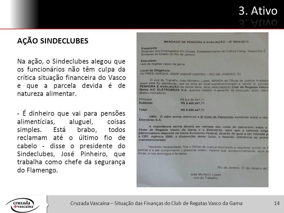 14 AÇÃO SINDECLUBES Na ação, o Sindeclubes alegou que os funcionários não têm culpa da crítica situação financeira do Vasco e que a parcela devida é d