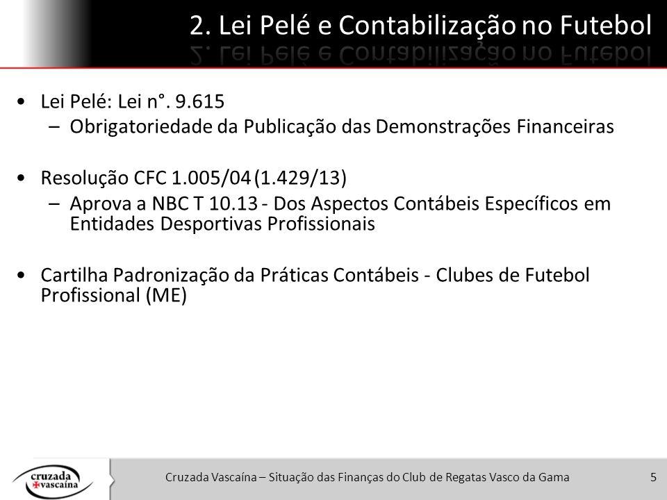 Cruzada Vascaína – Situação das Finanças do Club de Regatas Vasco da Gama5 Lei Pelé: Lei n°. 9.615 –Obrigatoriedade da Publicação das Demonstrações Fi