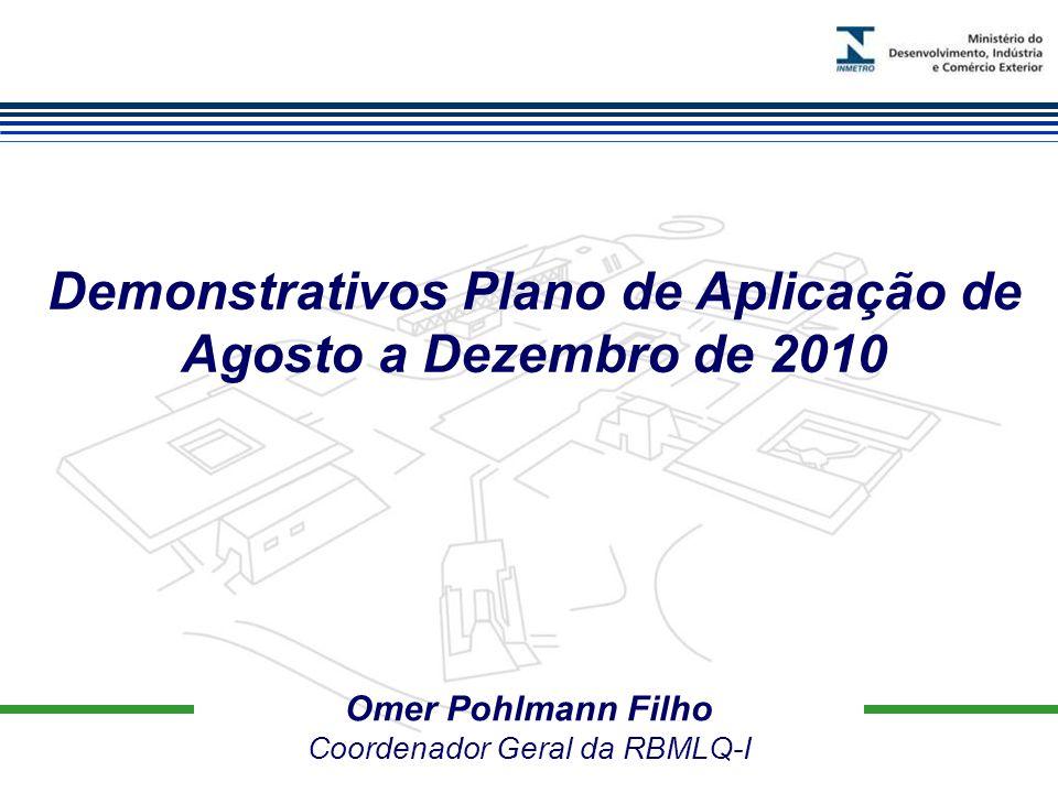 Marca do evento Omer Pohlmann Filho Coordenador Geral da RBMLQ-I Demonstrativos Plano de Aplicação de Agosto a Dezembro de 2010