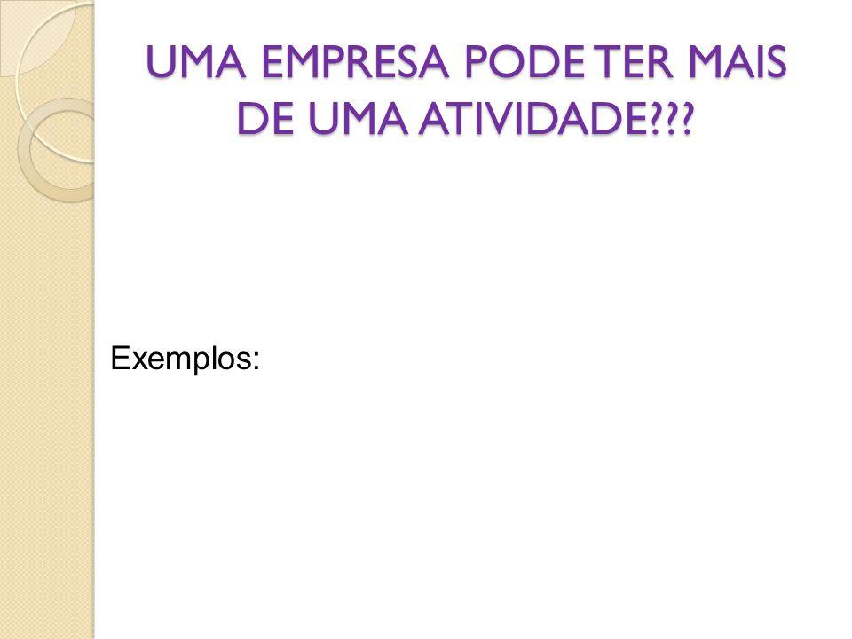 UMA EMPRESA PODE TER MAIS DE UMA ATIVIDADE??? Exemplos: