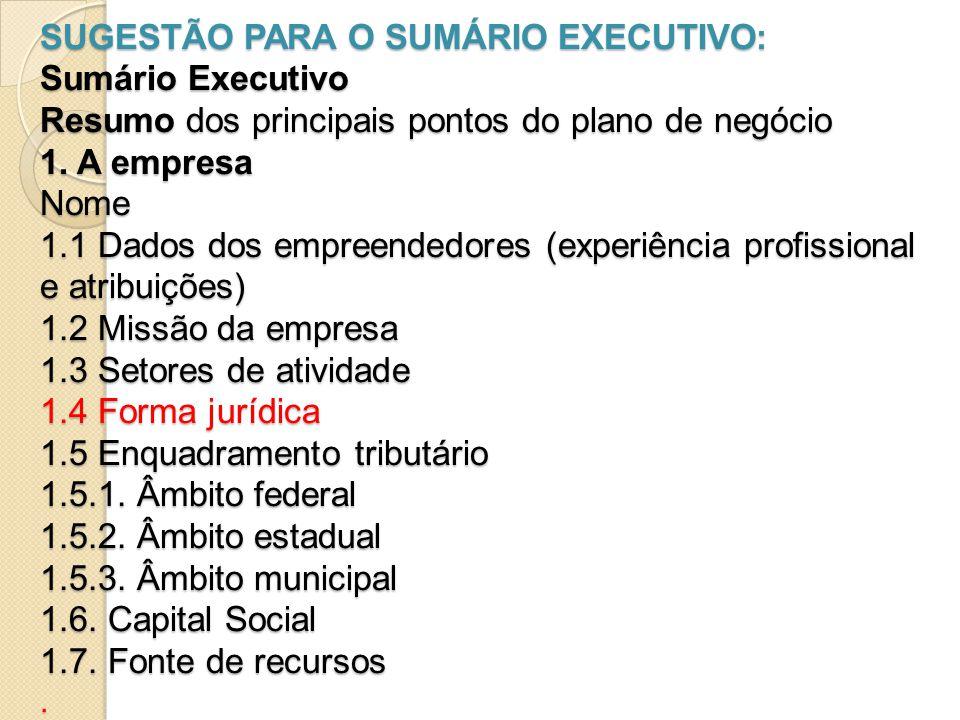 SUGESTÃO PARA O SUMÁRIO EXECUTIVO: Sumário Executivo Resumo dos principais pontos do plano de negócio 1.