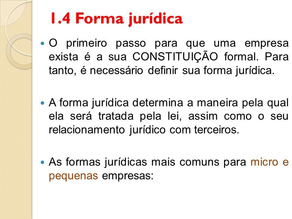 1.4 Forma jurídica O primeiro passo para que uma empresa exista é a sua CONSTITUIÇÃO formal. Para tanto, é necessário definir sua forma jurídica. A fo