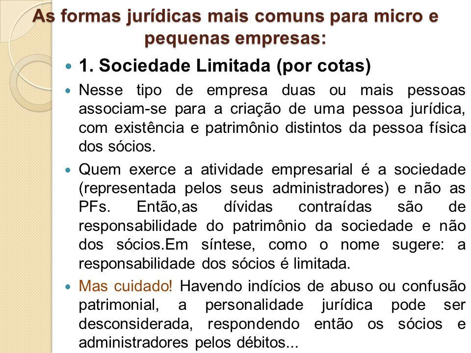 1. Sociedade Limitada (por cotas) Nesse tipo de empresa duas ou mais pessoas associam-se para a criação de uma pessoa jurídica, com existência e patri