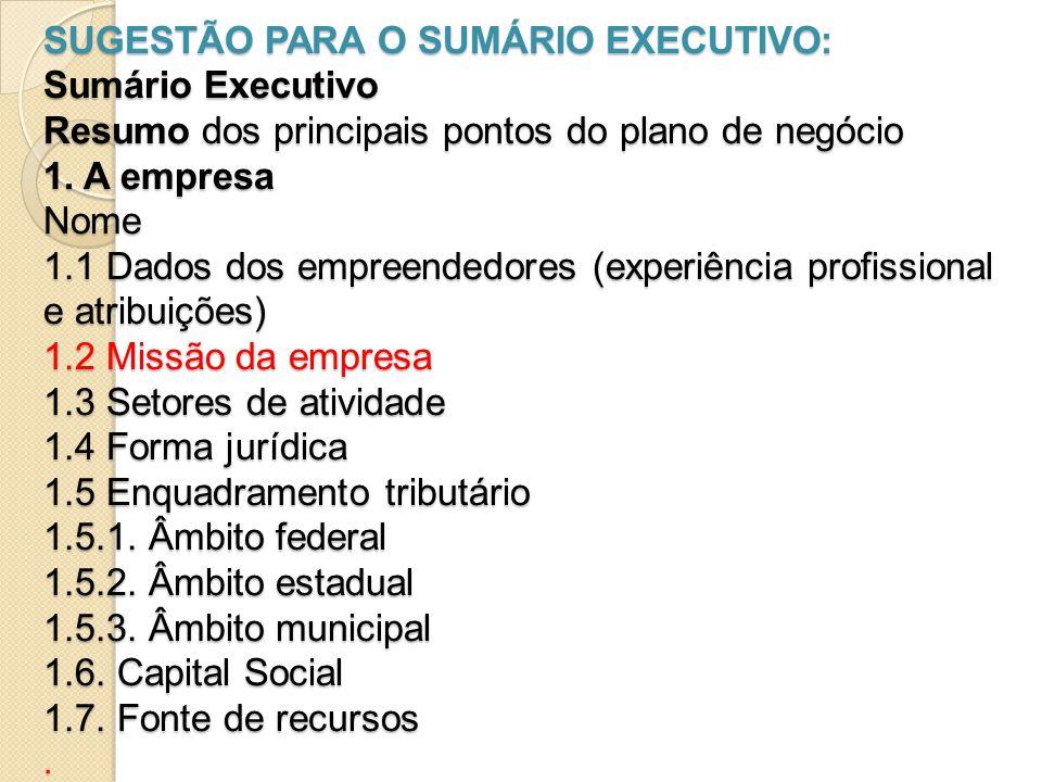 SUGESTÃO PARA O SUMÁRIO EXECUTIVO: Sumário Executivo Resumo dos principais pontos do plano de negócio 1. A empresa Nome 1.1 Dados dos empreendedores (