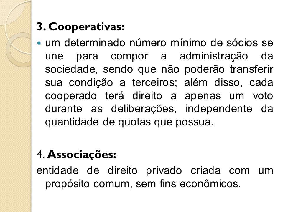 3. Cooperativas: um determinado número mínimo de sócios se une para compor a administração da sociedade, sendo que não poderão transferir sua condição