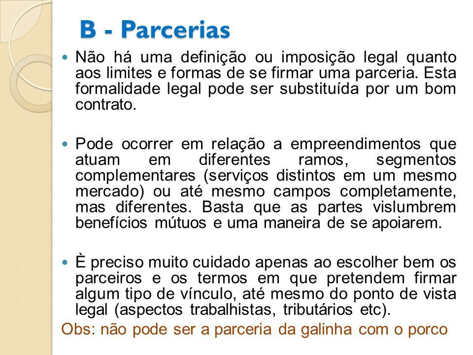 B - Parcerias Não há uma definição ou imposição legal quanto aos limites e formas de se firmar uma parceria. Esta formalidade legal pode ser substituí