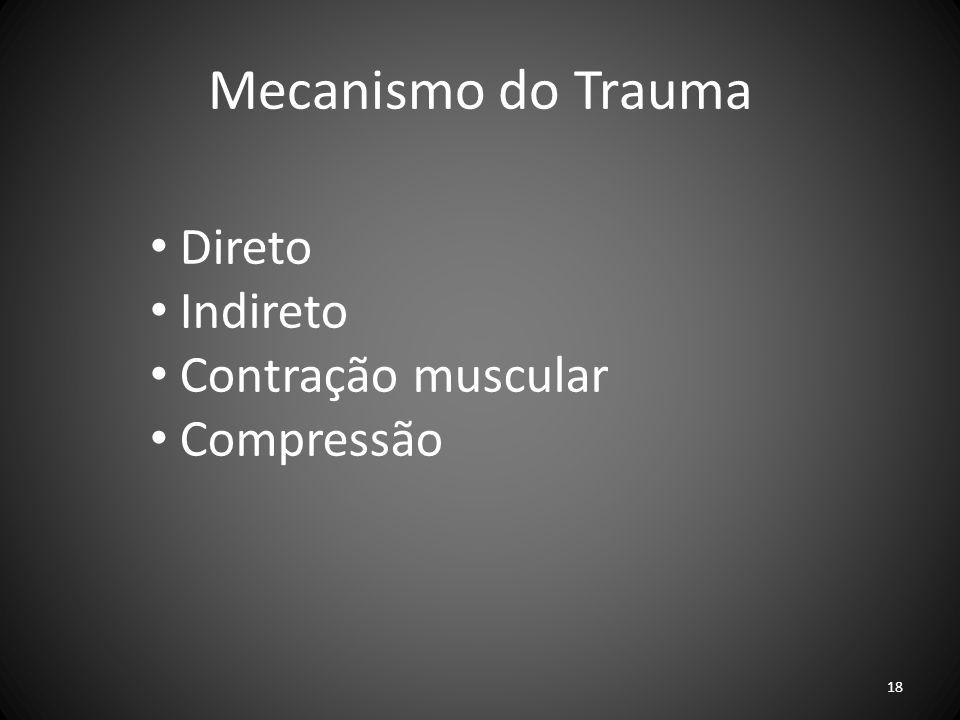 Mecanismo do Trauma Direto Indireto Contração muscular Compressão 18