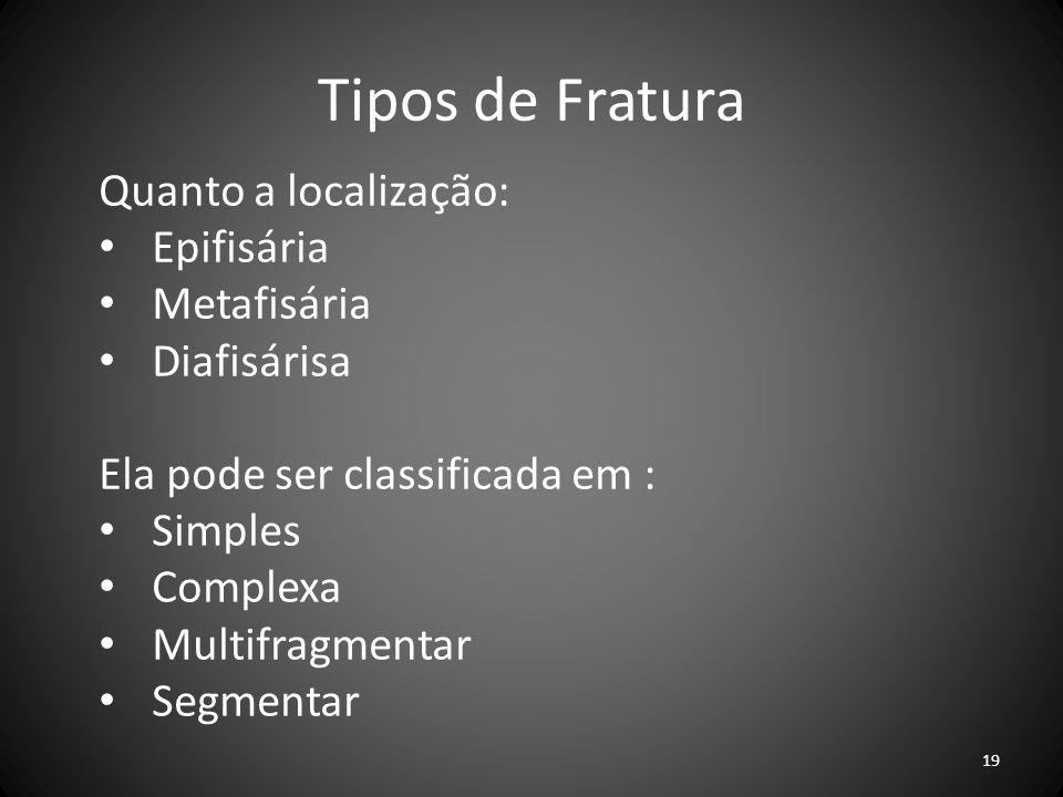 Tipos de Fratura Quanto a localização: Epifisária Metafisária Diafisárisa Ela pode ser classificada em : Simples Complexa Multifragmentar Segmentar 19
