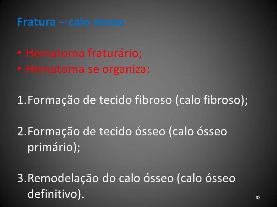 Fratura – calo ósseo Hematoma fraturário; Hematoma se organiza: 1.Formação de tecido fibroso (calo fibroso); 2.Formação de tecido ósseo (calo ósseo pr